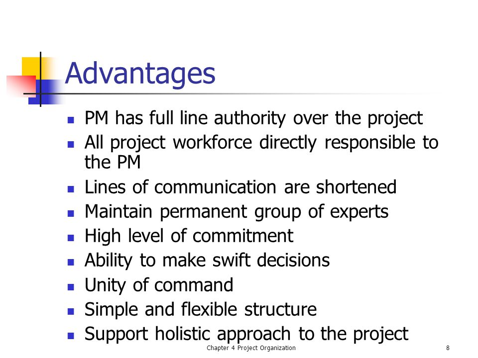 Chapter 4 Project Organization8 Advantages PM has full line authority over the project All project workforce directly responsible to the PM Lines of communication are shortened Maintain permanent group of experts High level of commitment Ability to make swift decisions Unity of command Simple and flexible structure Support holistic approach to the project