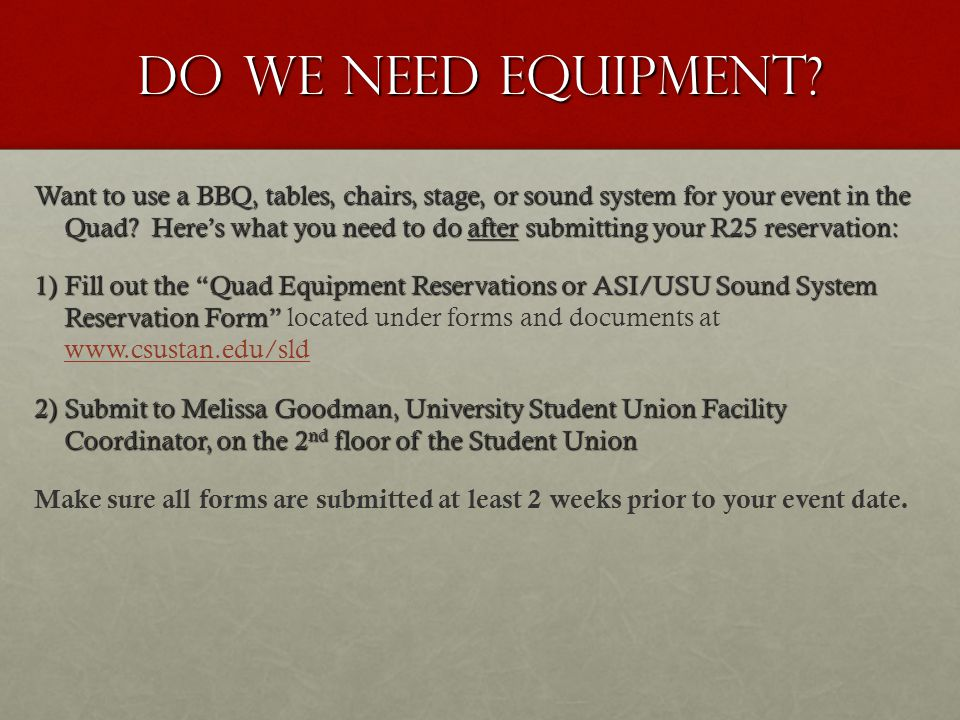 Do we need equipment.
