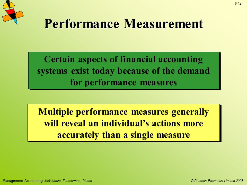 © Pearson Education Limited 2008 6-12 Management Accounting McWatters, Zimmerman, Morse Performance Measurement Certain aspects of financial accountin