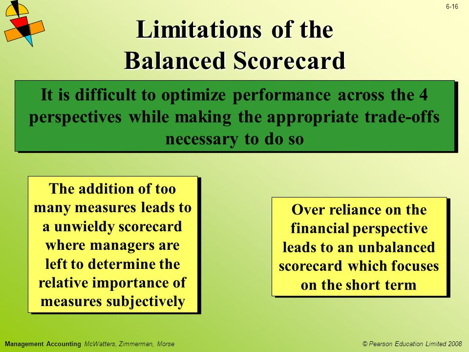 © Pearson Education Limited 2008 6-16 Management Accounting McWatters, Zimmerman, Morse Limitations of the Balanced Scorecard Over reliance on the fin