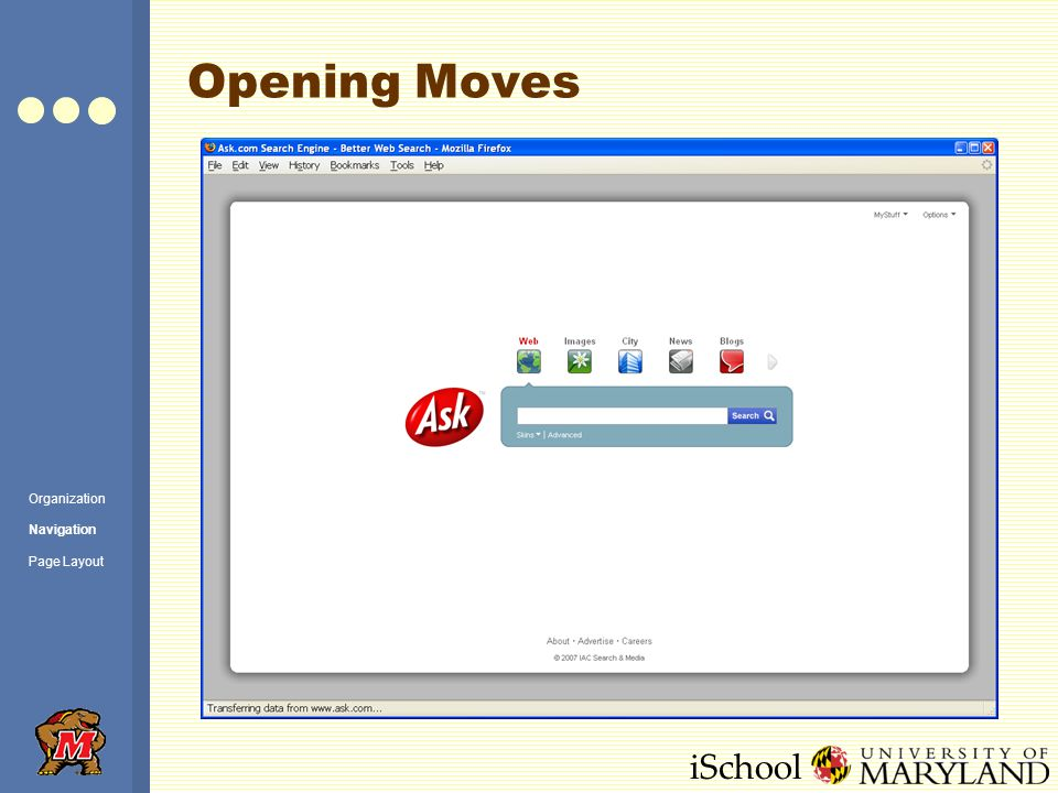 iSchool Opening Moves Organization Navigation Page Layout