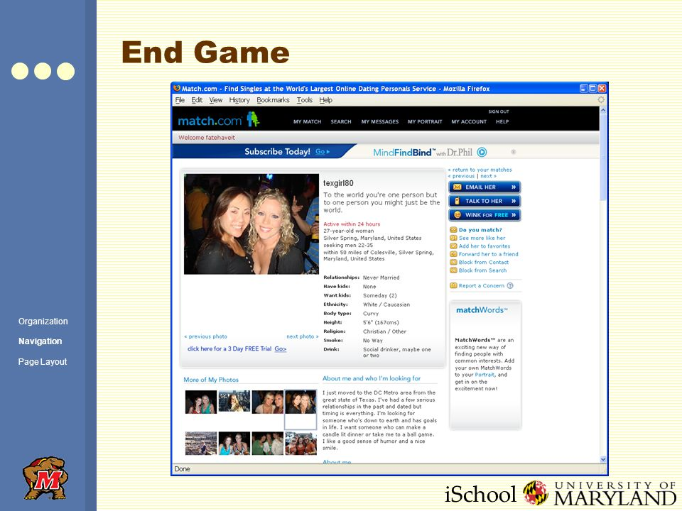 iSchool End Game Organization Navigation Page Layout