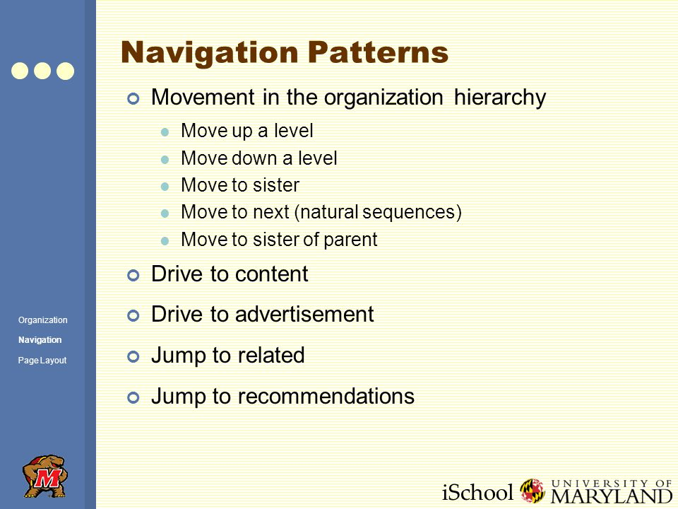 iSchool Navigation Patterns Movement in the organization hierarchy Move up a level Move down a level Move to sister Move to next (natural sequences) Move to sister of parent Drive to content Drive to advertisement Jump to related Jump to recommendations Organization Navigation Page Layout