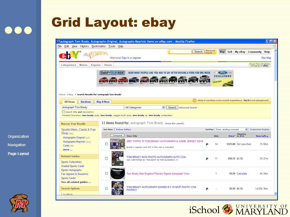 iSchool Grid Layout: ebay Organization Navigation Page Layout