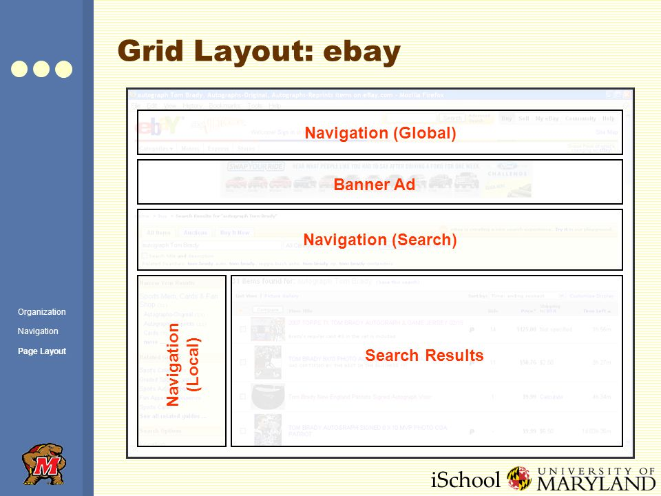 iSchool Grid Layout: ebay Navigation (Global) Banner Ad Search Results Navigation (Local) Navigation (Search) Organization Navigation Page Layout