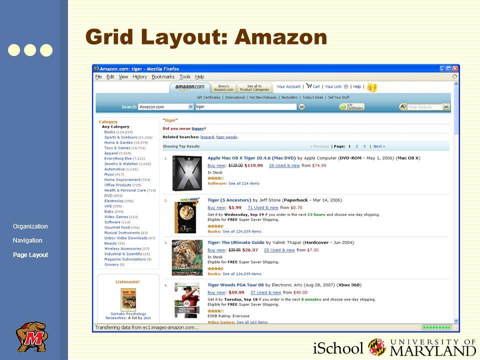iSchool Grid Layout: Amazon Organization Navigation Page Layout
