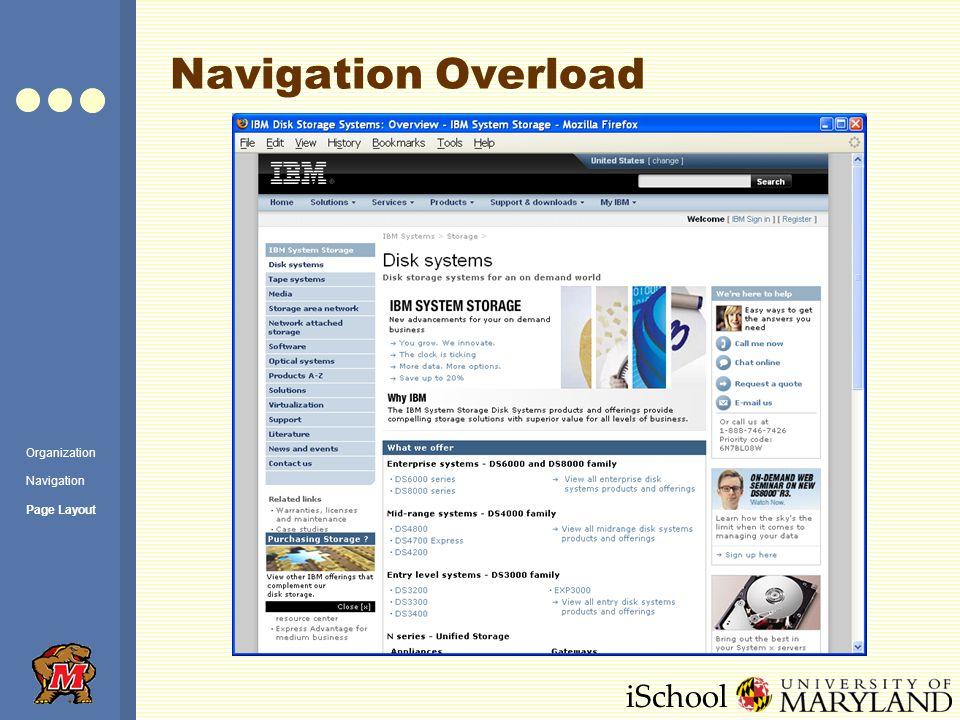 iSchool Navigation Overload Organization Navigation Page Layout