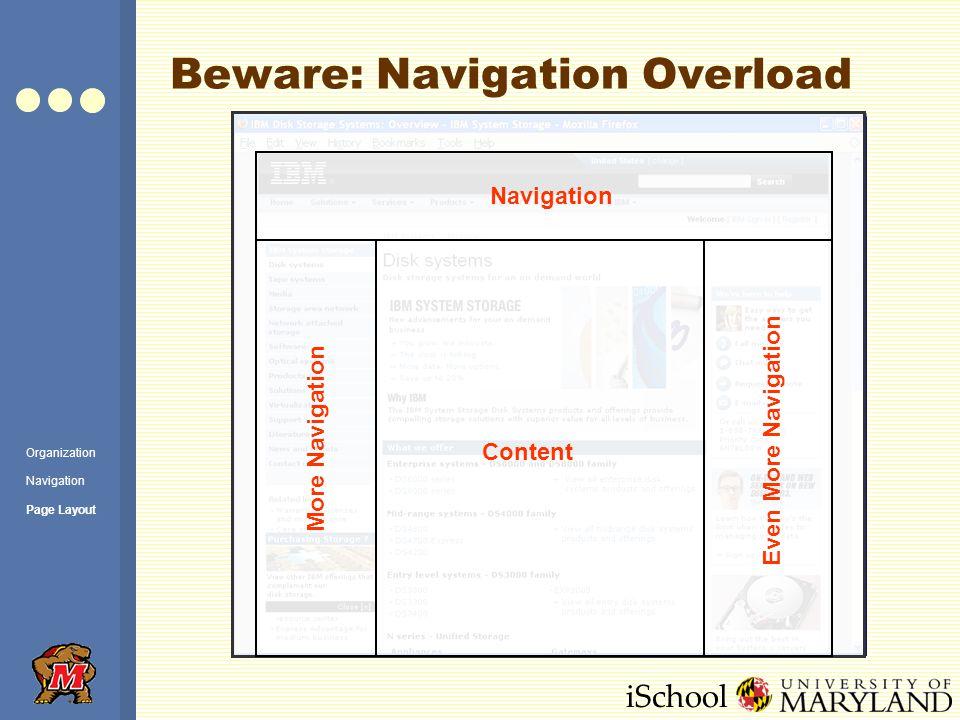 iSchool Beware: Navigation Overload Navigation Content More Navigation Even More Navigation Organization Navigation Page Layout