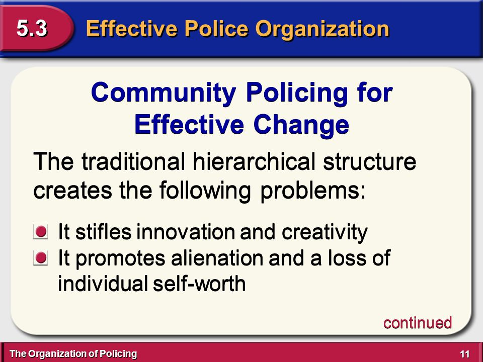 The Organization of Policing 11 Effective Police Organization 5.3 Community Policing for Effective Change Community Policing for Effective Change The