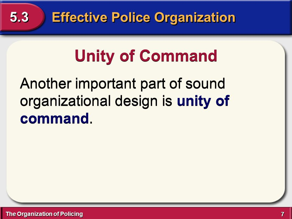 The Organization of Policing 7 7 Effective Police Organization 5.3 Unity of Command Another important part of sound organizational design is unity of