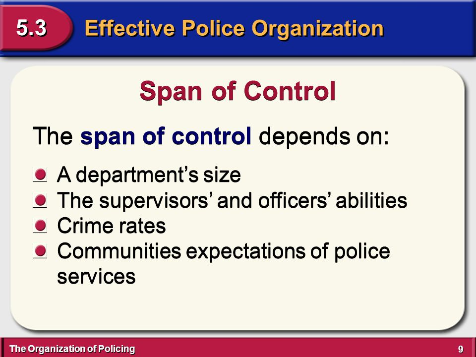 The Organization of Policing 30 Effective Police Organization 5.3 The five phases of accreditation are: Process of Accreditation 1.The application 2.Self-assessment 3.On-site assessment visit 4.CALEA review 5.Maintaining compliance 1.The application 2.Self-assessment 3.On-site assessment visit 4.CALEA review 5.Maintaining compliance
