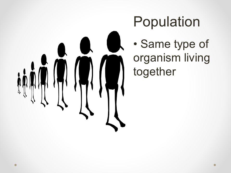 Population Same type of organism living together