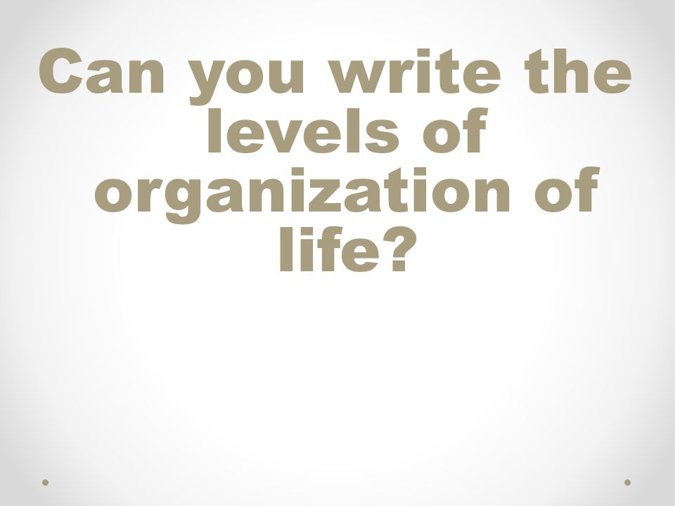 Can you write the levels of organization of life?