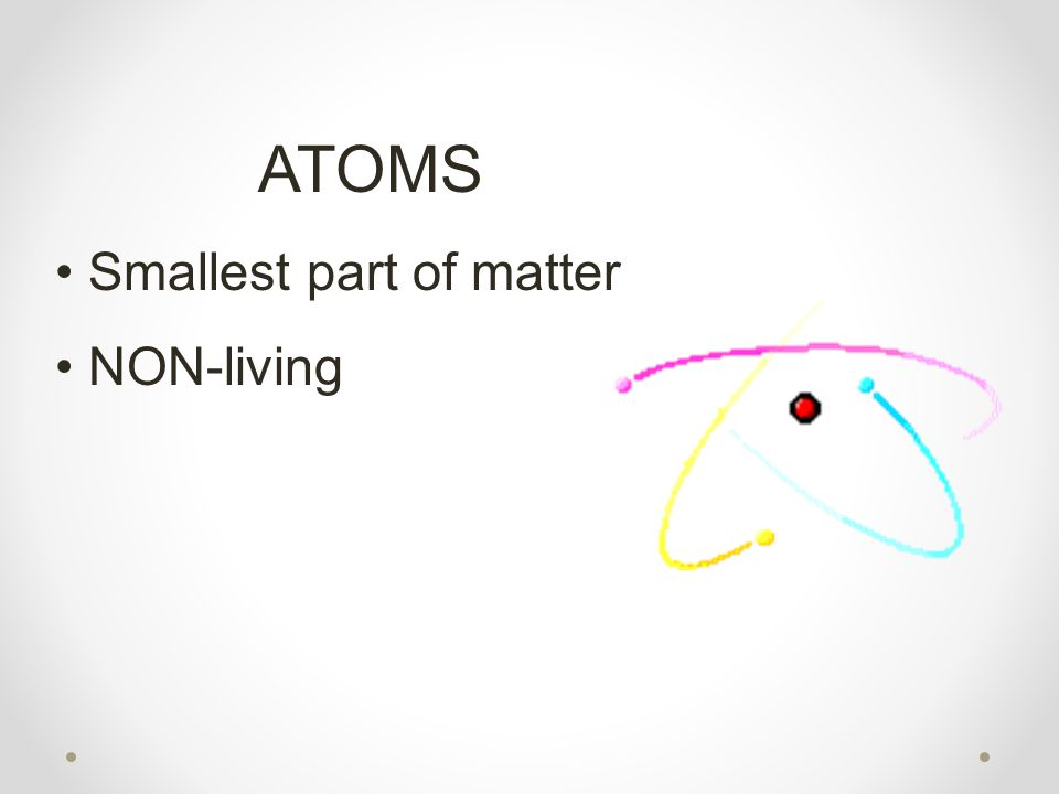 ATOMS Smallest part of matter NON-living
