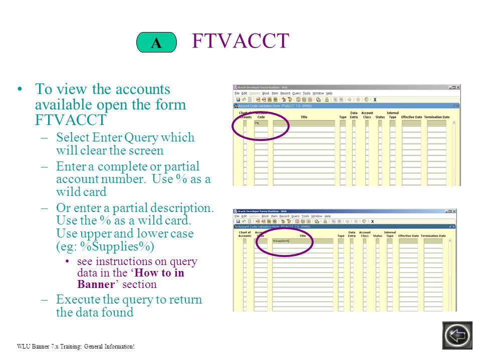 FTVACCT To view the accounts available open the form FTVACCT –Select Enter Query which will clear the screen –Enter a complete or partial account number.