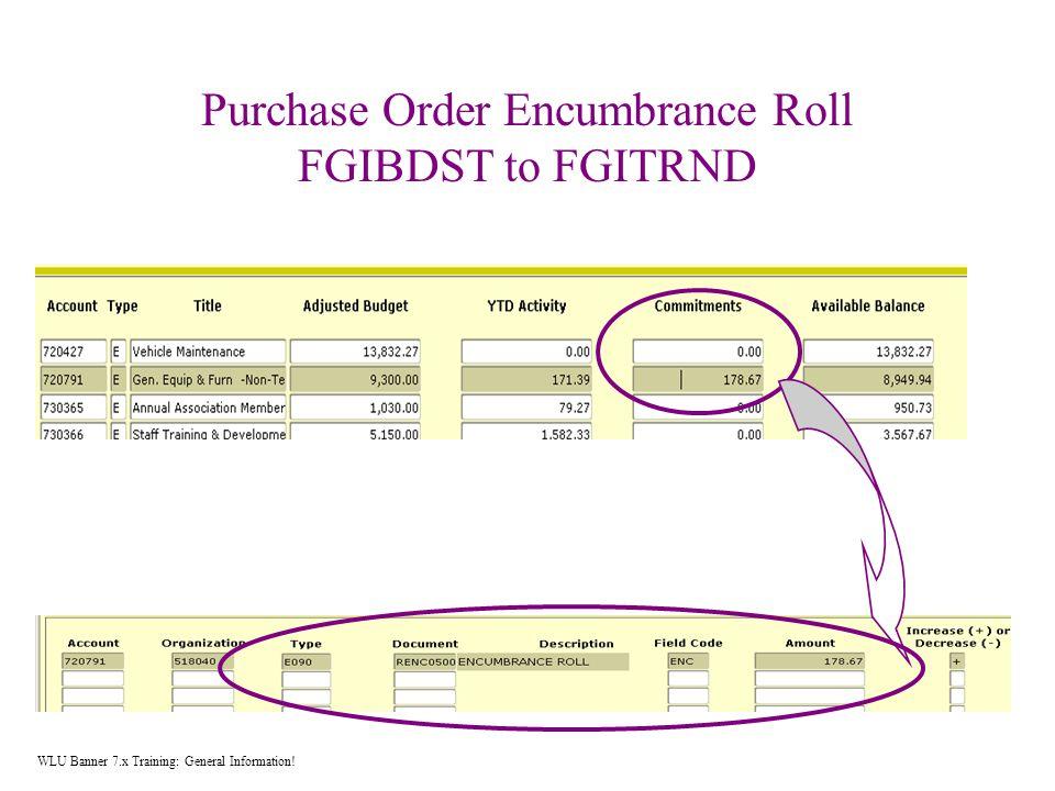 Purchase Order Encumbrance Roll FGIBDST to FGITRND WLU Banner 7.x Training: General Information!
