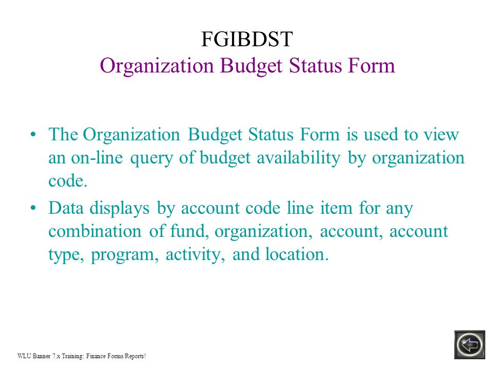 Budget Query by Account Option Information by account(s) for the Fiscal Period and Year to Date by: –Specific FOAPAL/Index values –A Specific Organization –All Organizations –Fund Type –Account Type –Revenue Accounts There are three levels to a Budget Query by account.