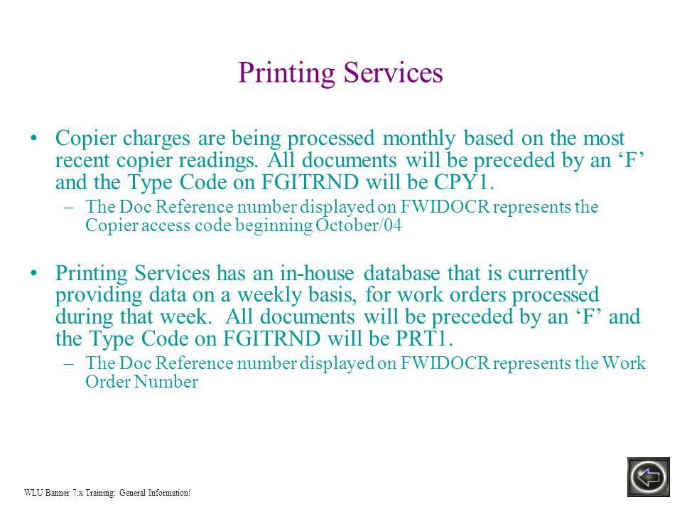 Printing Services Copier charges are being processed monthly based on the most recent copier readings.