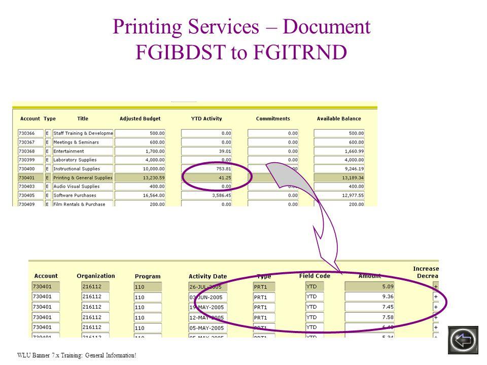 Printing Services – Document FGIBDST to FGITRND WLU Banner 7.x Training: General Information!