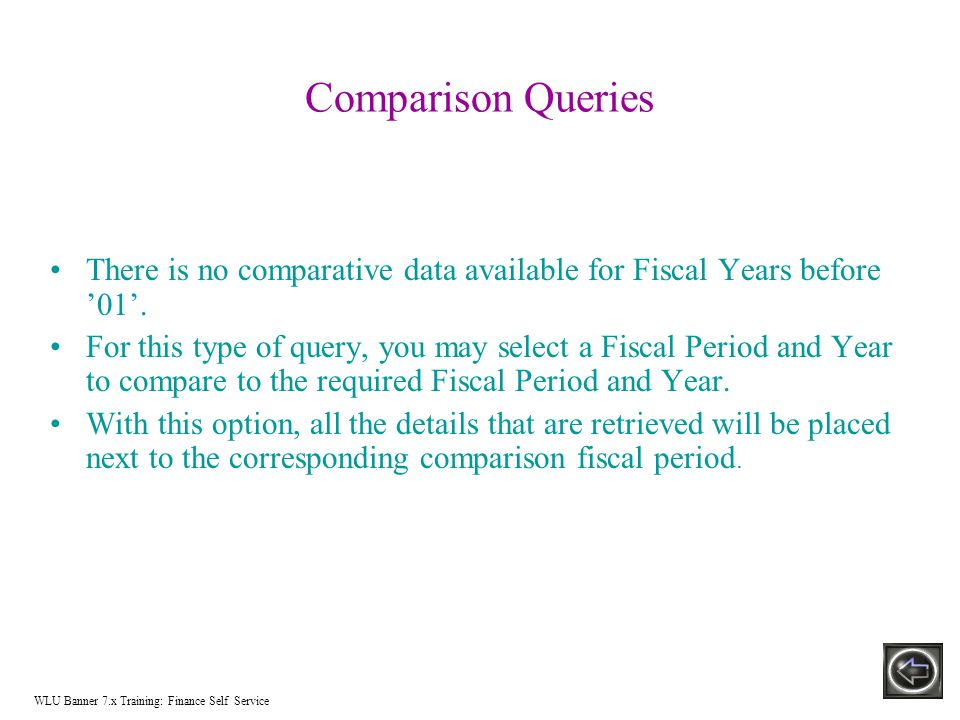 Comparison Queries There is no comparative data available for Fiscal Years before '01'.
