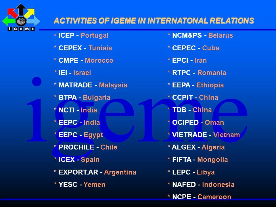 * ICEP - Portugal * CEPEX - Tunisia * CMPE - Morocco * IEI - Israel * MATRADE - Malaysia * BTPA - Bulgaria * NCTI - India * EEPC - India * EEPC - Egypt * PROCHILE - Chile * ICEX - Spain * EXPORT.AR - Argentina * YESC - Yemen * NCM&PS - Belarus * CEPEC - Cuba * EPCI - Iran * RTPC - Romania * EEPA - Ethiopia * CCPIT - China * TDB - China * OCIPED - Oman * VIETRADE - Vietnam * ALGEX - Algeria * FIFTA - Mongolia * LEPC - Libya * NAFED - Indonesia * NCPE - Cameroon ACTIVITIES OF IGEME IN INTERNATONAL RELATIONS ACTIVITIES OF IGEME IN INTERNATONAL RELATIONS