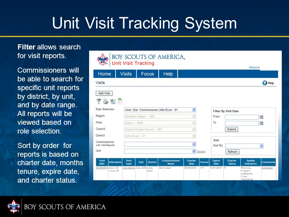 Unit Visit Tracking System Filter allows search for visit reports.