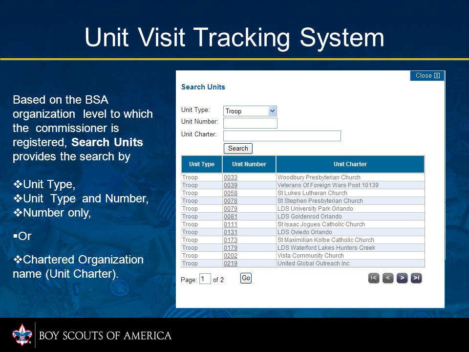 Unit Visit Tracking System Based on the BSA organization level to which the commissioner is registered, Search Units provides the search by  Unit Type,  Unit Type and Number,  Number only,  Or  Chartered Organization name (Unit Charter).