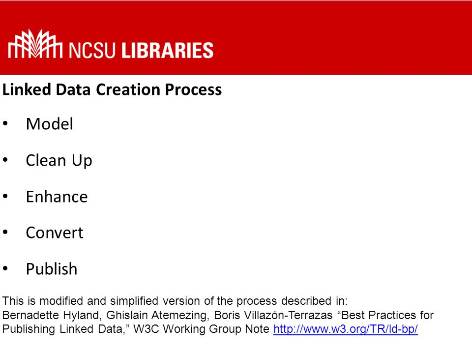 Convert Choose what RDF serializations to use for publishing We looked at linked data sets from OCLC, the Library of Congress, and Dbpedia to see what forms of RDF were used The following are just snippets, consult sample files and serialization specifications for more details