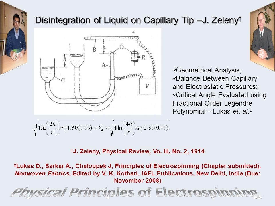 Disintegration of Liquid on Capillary Tip –J.Zeleny † † J.