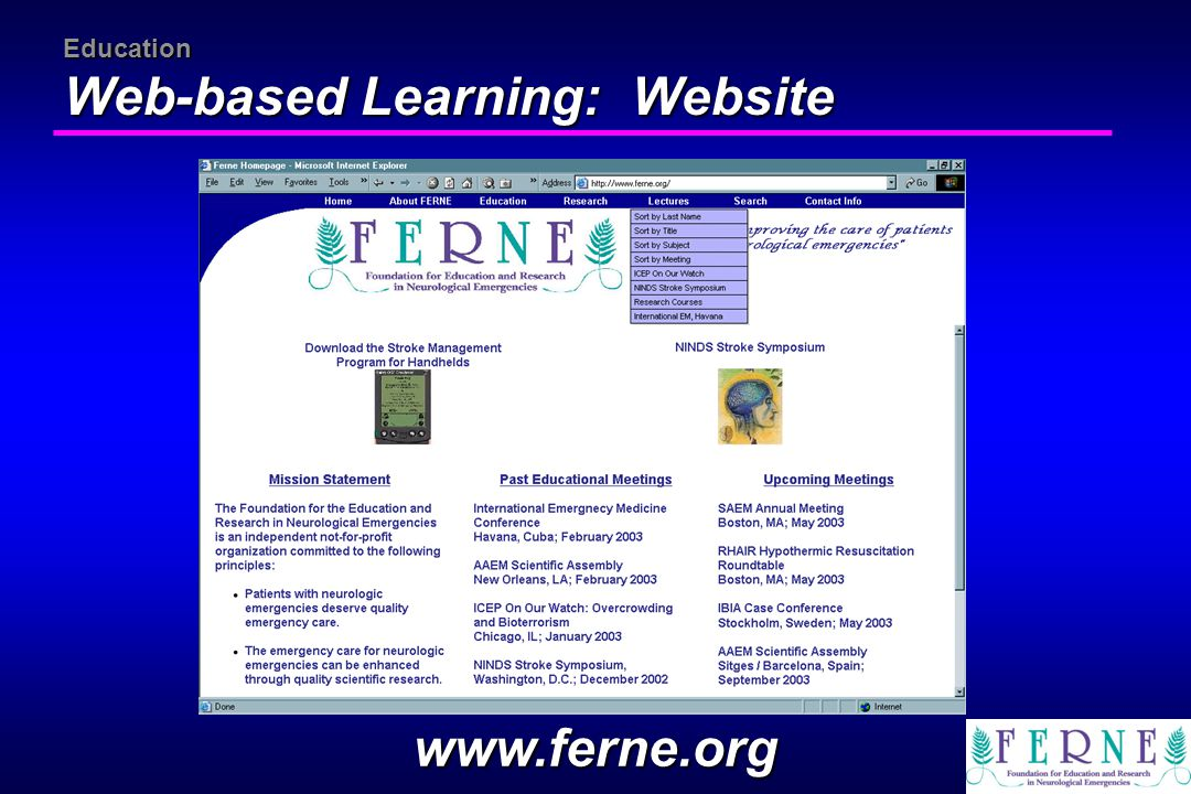 Education Web-based Learning: Website www.ferne.org