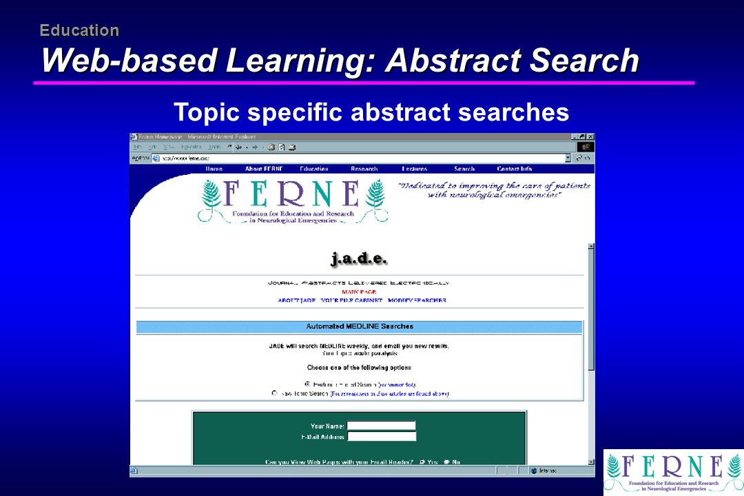 Education Web-based Learning: Abstract Search Topic specific abstract searches