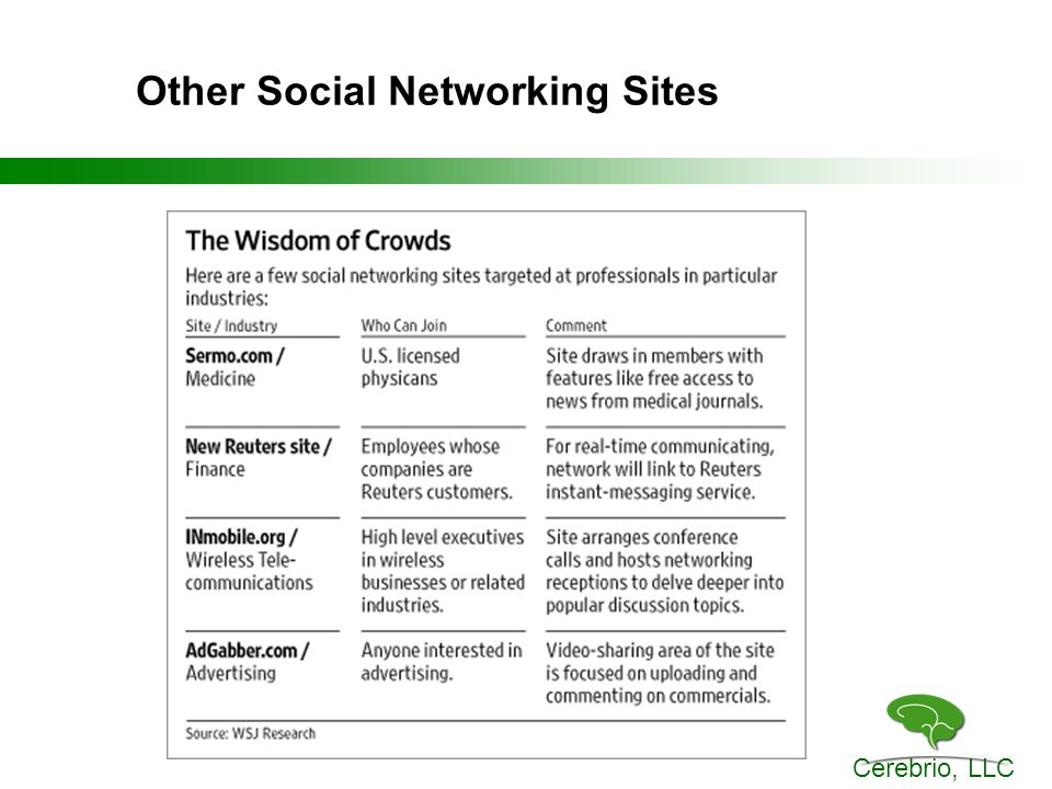 Cerebrio, LLC Other Social Networking Sites