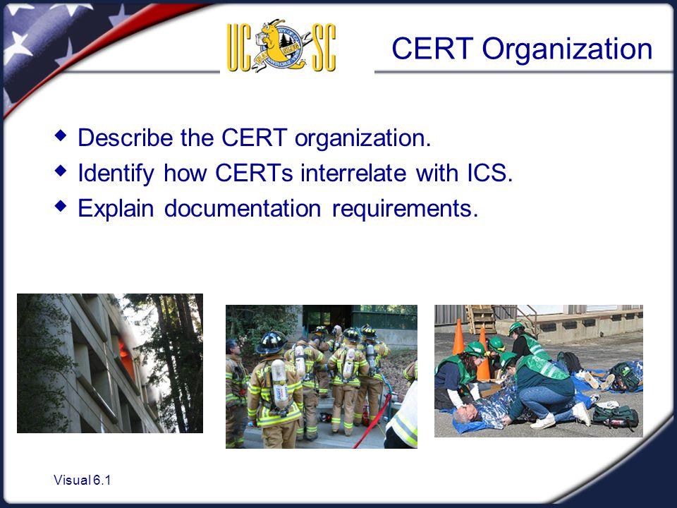 Visual 6.1 CERT Organization  Describe the CERT organization.  Identify how CERTs interrelate with ICS.  Explain documentation requirements.