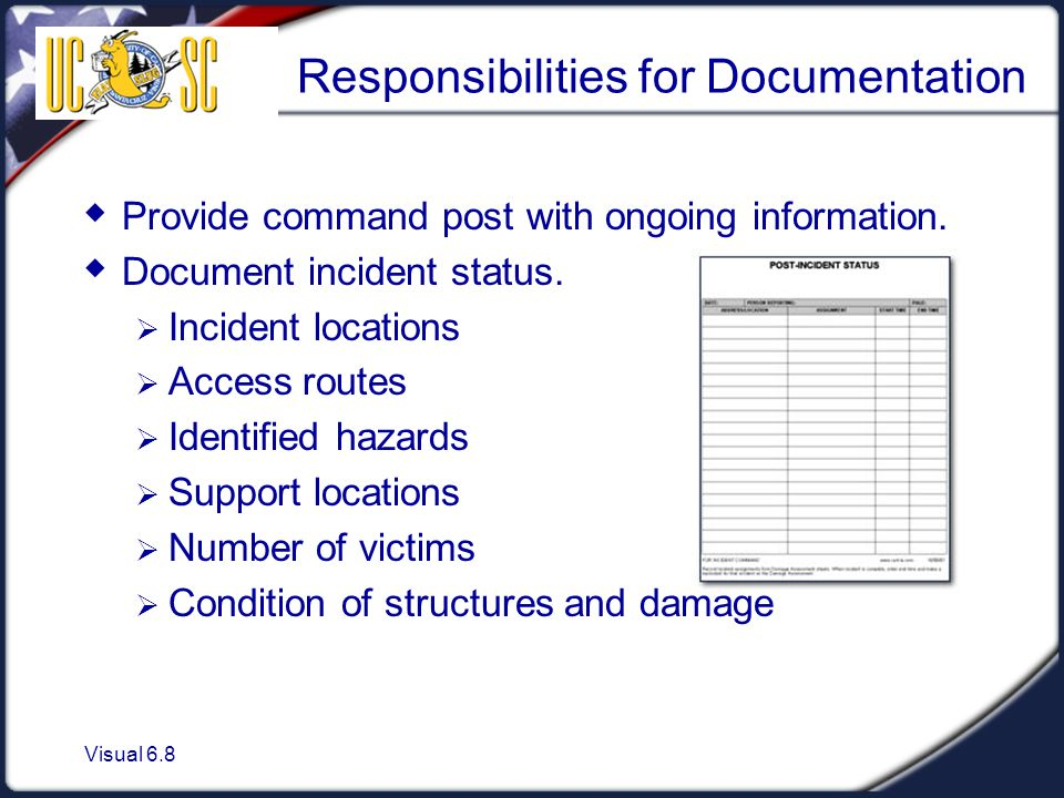 Visual 6.8 Responsibilities for Documentation  Provide command post with ongoing information.  Document incident status.  Incident locations  Acce
