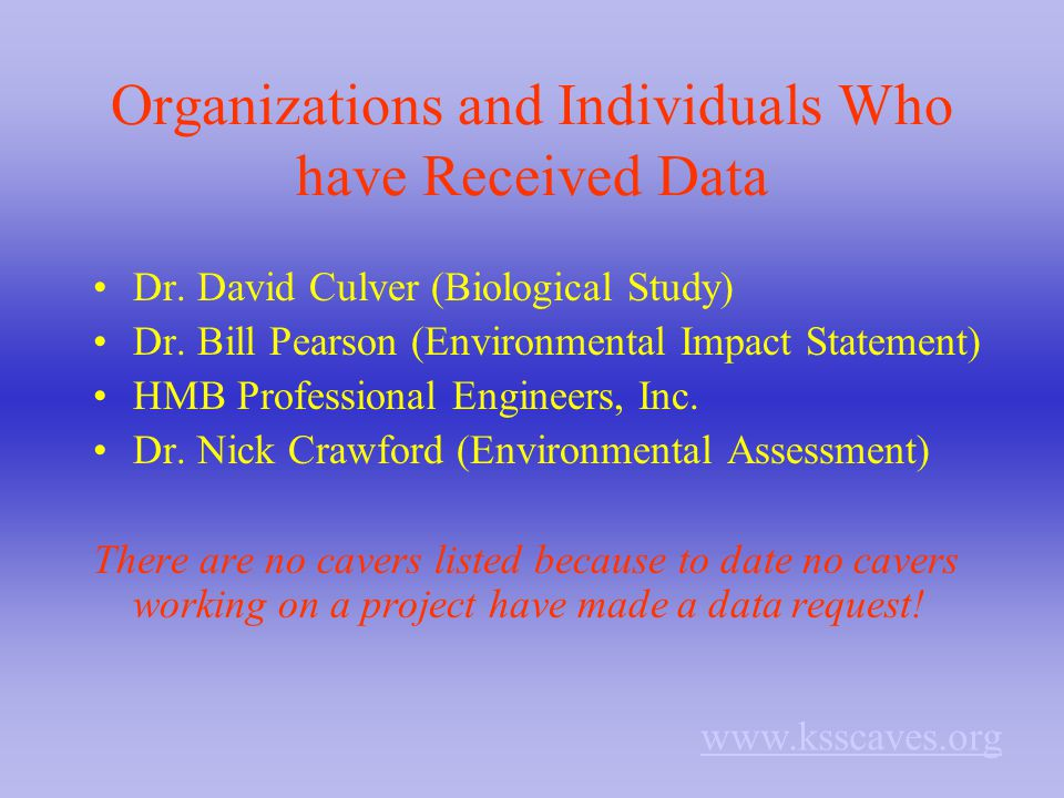 Organizations and Individuals Who have Received Data Dr. David Culver (Biological Study) Dr. Bill Pearson (Environmental Impact Statement) HMB Profess