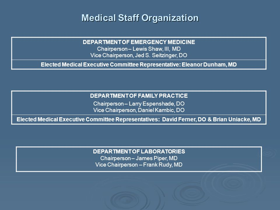 Medical Staff Organization DEPARTMENT OF EMERGENCY MEDICINE Chairperson – Lewis Shaw, III, MD Vice Chairperson, Jed S. Seitzinger, DO Elected Medical