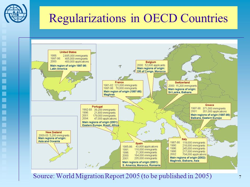 7 Source: World Migration Report 2005 (to be published in 2005) Regularizations in OECD Countries
