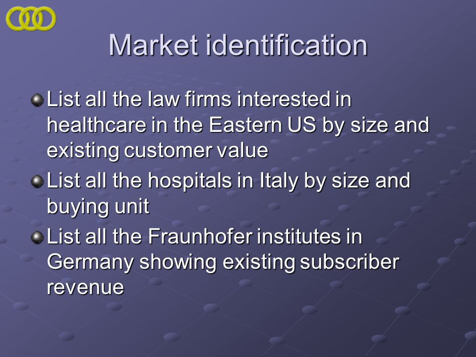 Market identification List all the law firms interested in healthcare in the Eastern US by size and existing customer value List all the hospitals in