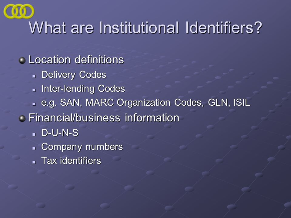 What are Institutional Identifiers? Location definitions Delivery Codes Delivery Codes Inter-lending Codes Inter-lending Codes e.g. SAN, MARC Organiza