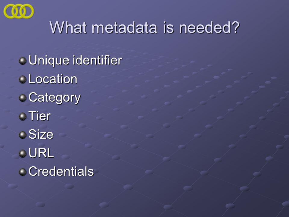 What metadata is needed Unique identifier LocationCategoryTierSizeURLCredentials