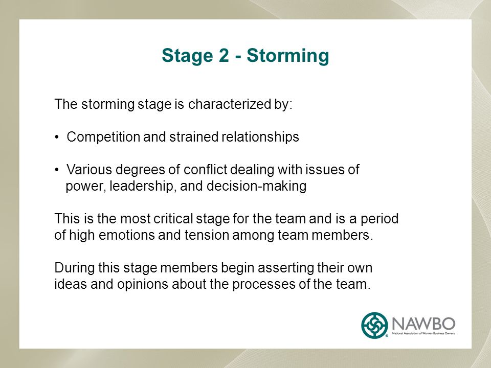Stage 2 - Storming The storming stage is characterized by: Competition and strained relationships Various degrees of conflict dealing with issues of power, leadership, and decision-making This is the most critical stage for the team and is a period of high emotions and tension among team members.