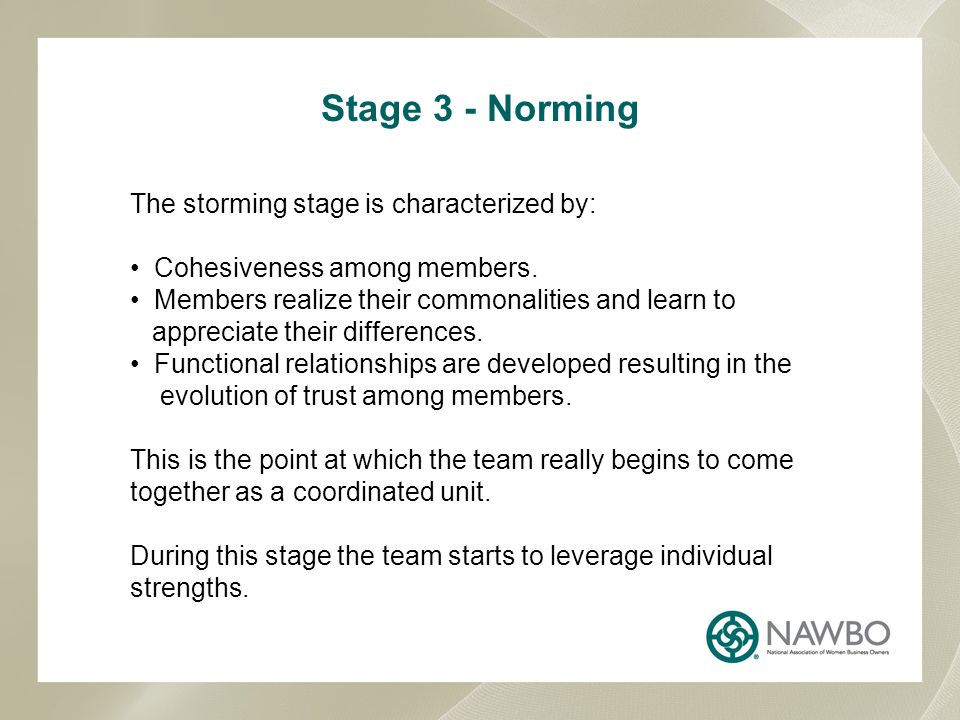 Stage 3 - Norming The storming stage is characterized by: Cohesiveness among members. Members realize their commonalities and learn to appreciate thei