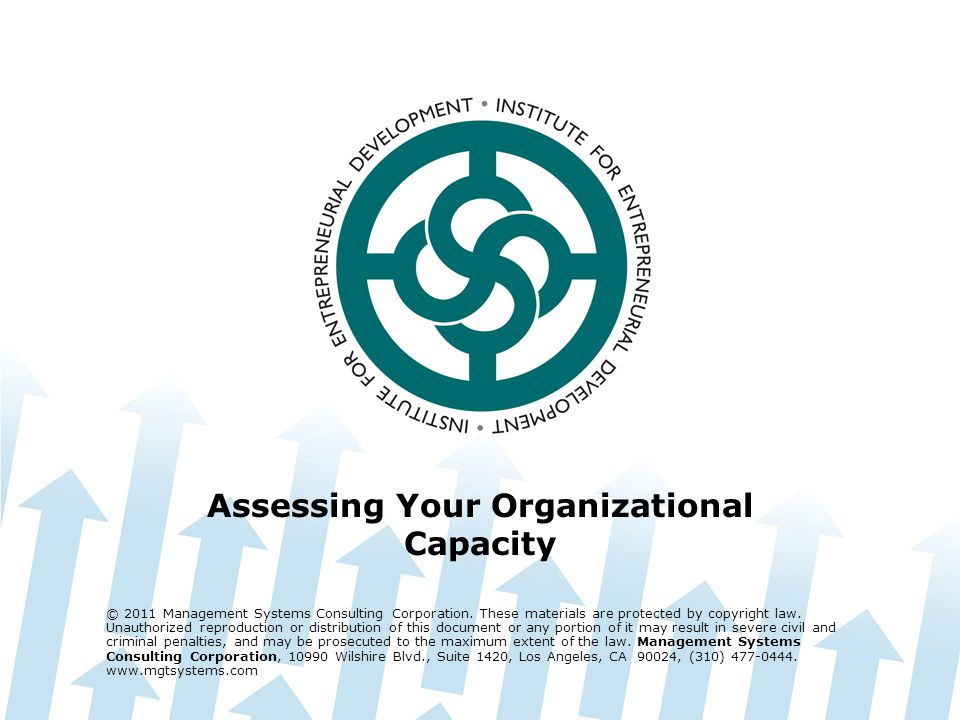 Assessing Your Organizational Capacity © 2011 Management Systems Consulting Corporation.