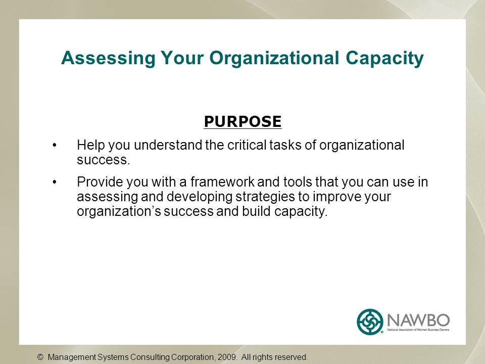 Assessing Your Organizational Capacity PURPOSE Help you understand the critical tasks of organizational success. Provide you with a framework and tool