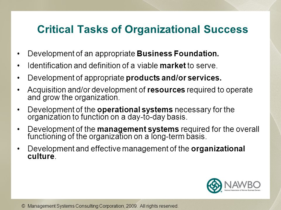 Critical Tasks of Organizational Success Development of an appropriate Business Foundation.