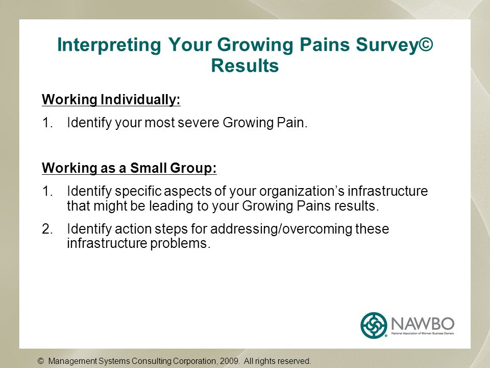 Interpreting Your Growing Pains Survey© Results Working Individually: 1.Identify your most severe Growing Pain. Working as a Small Group: 1.Identify s