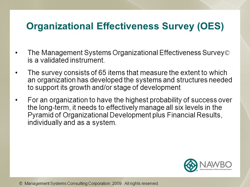 Organizational Effectiveness Survey (OES) The Management Systems Organizational Effectiveness Survey © is a validated instrument. The survey consists