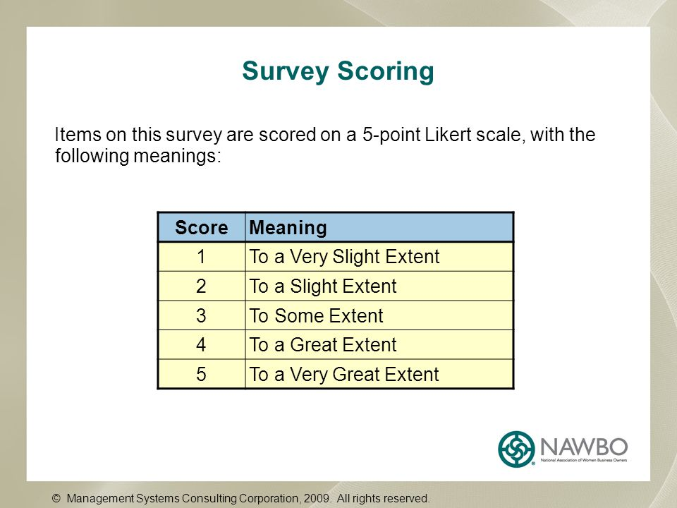 Survey Scoring Items on this survey are scored on a 5-point Likert scale, with the following meanings: ScoreMeaning 1To a Very Slight Extent 2To a Sli