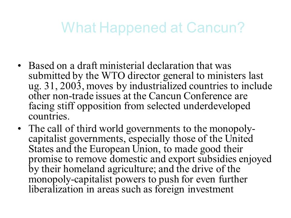 What Happened at Cancun.
