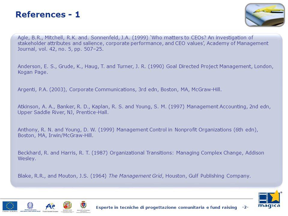 Esperte in tecniche di progettazione comunitaria e fund raising -2- References - 1 Agle, B.R., Mitchell, R.K.
